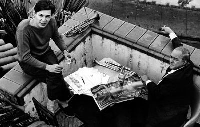 Carlos Jobim with Vinicius de Moraes on a terrace