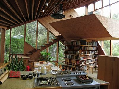 John lautner house architecture book shelf interior decor