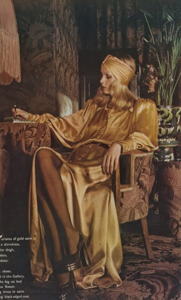 twiggy on an art deco chair fot biba boutique