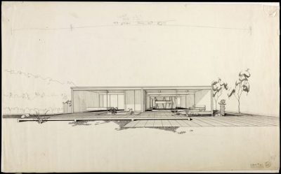 Perspective Pierre Koenig. Case Study House 21, 1958