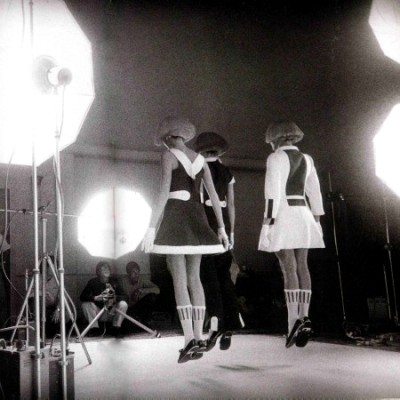André Courrèges jumping models in fashion shooting