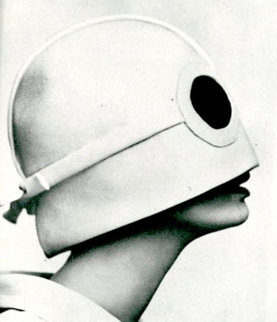 the futuristic style hat of André Courrèges sixties fashion