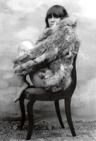 brasilian singer astrud gilberto posing in a fur coat
