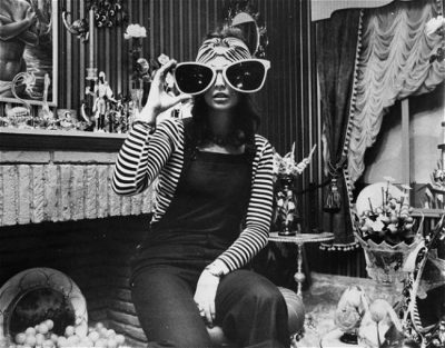 model wearing huge sun glasses at biba boutique