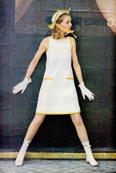 designer André Courrèges triangle shaped shift dress
