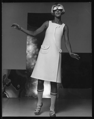 André Courrèges cat walk model  + art