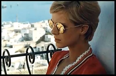 american actrees Mimsy Farmer in dalt vila ibiza on the set of more 1969 waring sunglasses