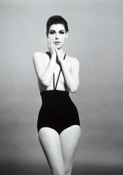 peggy moffit in black monokini