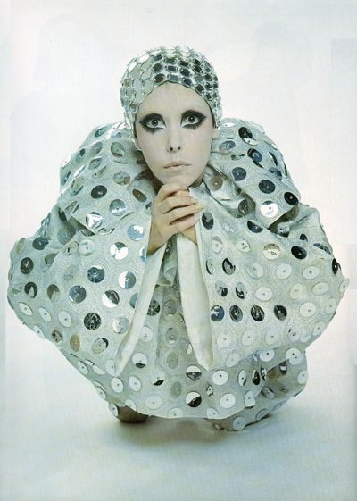 peggy-moffitt-Peggy Moffitt in Silver Pierrot by Rudi Gernreich, New York City