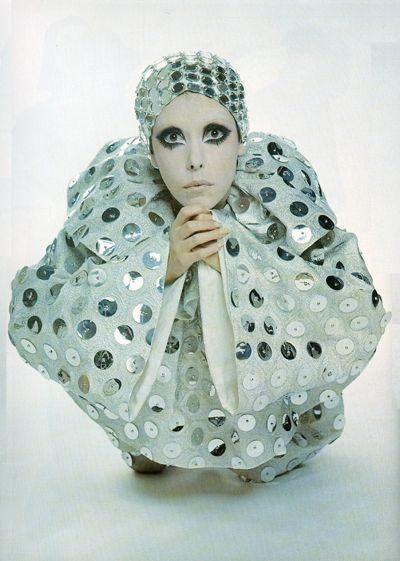 peggy-moffitt-Peggy Moffitt in Silver Pierrot by Rudi Gernreich, New York City