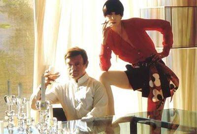 fashion model peggy moffitt and fashion designer gerneich posin together