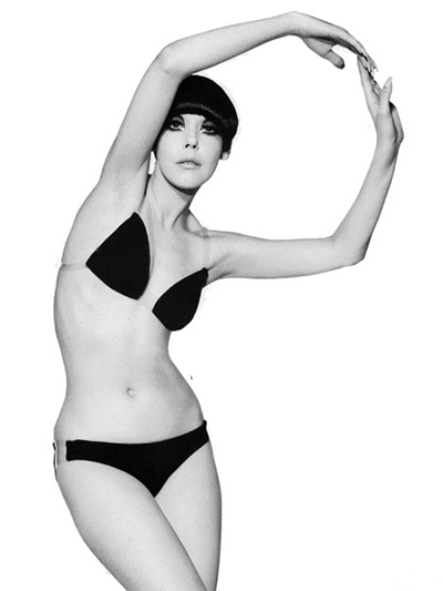 peggy moffit wearing a blak bikini