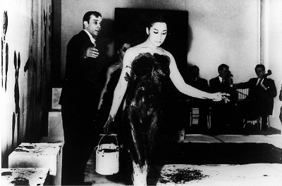 anthropometrie performance by klein model in blue color body paint