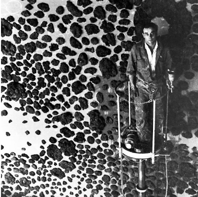 artist Yves Klein in his studio
