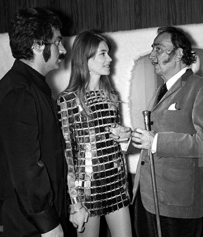 Francoise Hardy, salvador dali and Paco Rabanne In France On May 19, 1968.