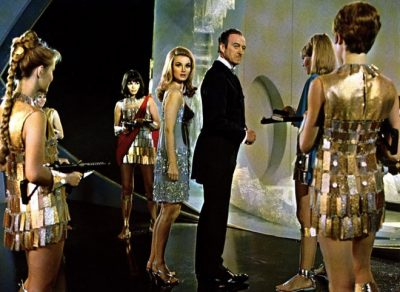Guard girls wearing Paco Rabanne in Casino Royale, 1967