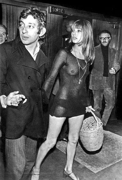 jane birking with serge gainsbourg see through outfit coming out of a theater