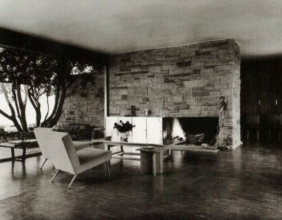 richard neutra interior chimeny living room