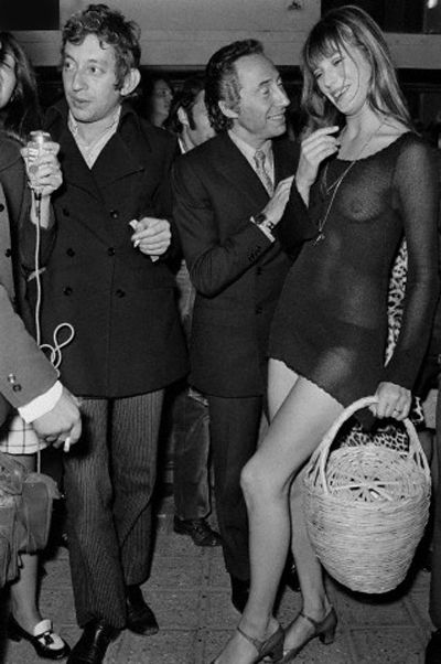 jane birking with serge gainsbourg see through outfit with basket style stappple