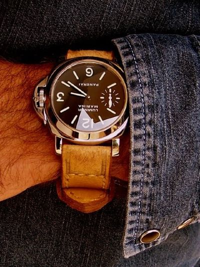 panerai watch and denim jacket
