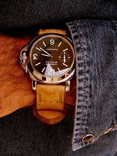 panerai watch and denim jacket