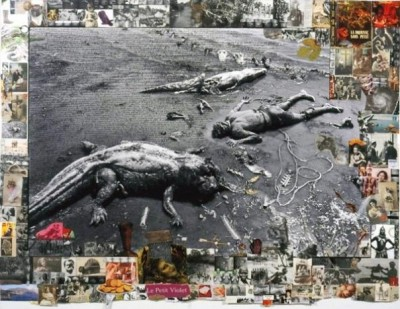 Peter Beard lays down next to aligators