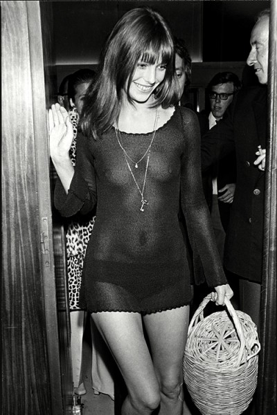 jane birking with serge gainsbourg see through outfit with basket as a bag