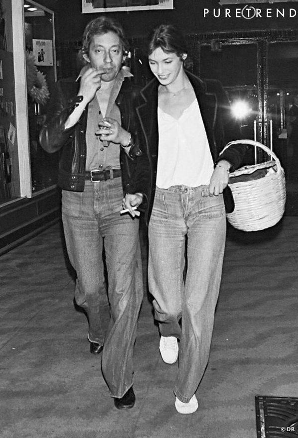 jane birkin and serge gainsbour walking in spring cour shoes