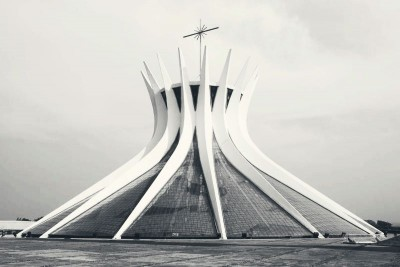metropolitan cathedral bulding panoramic vie by architec oscar niemeyer