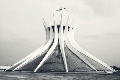 metropolitan cathedral bulding panoramic vie by architec oscar niemeyer