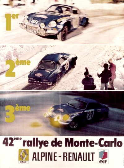 RENAULT ALPINE A110 vintage magazine ad celebrating monte carlo wins