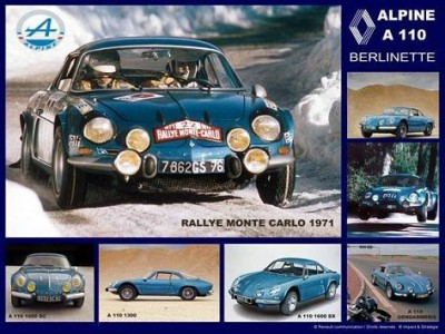RENAULT ALPINE A110 montecarlo poster
