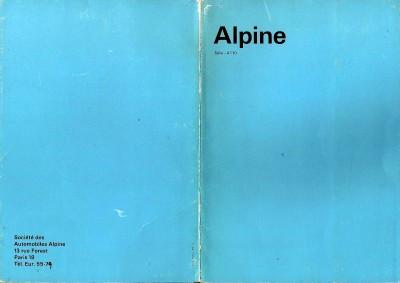 RENAULT ALPINE A110 catalogue manual