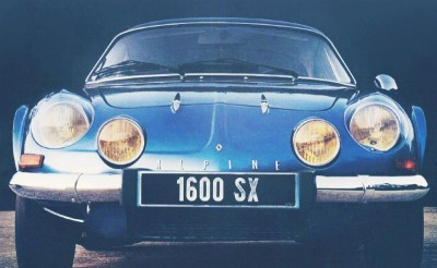 blue RENAULT ALPINE A110 frontal view