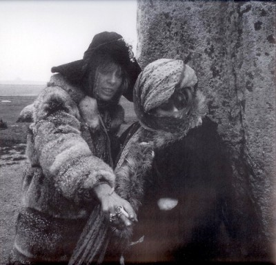 Anita Pallemberg and Marianne Faithfull at Stonehenge, April 1968.