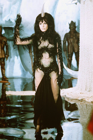 pallemberg In Paco Rabbane's designss the Black Queen in the film Barbarella. 1968.