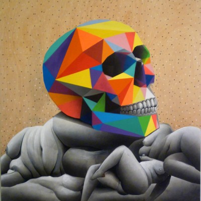 okuda artwork skull over naked bodies