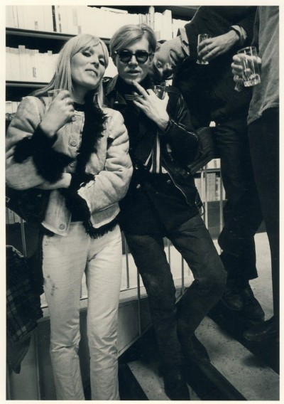 nico with andy warhol party time drinking