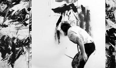 Emilio Vedova working in his studio action painting