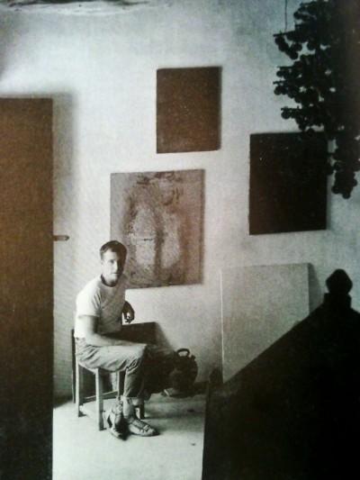 artist Erwin Bechtold wearing alpargatas in his ibiza studio
