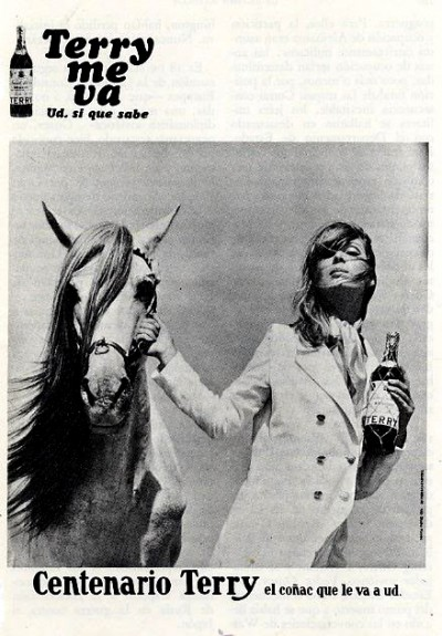 nico modeling for terry brandy vintage magazine ad with a white horse