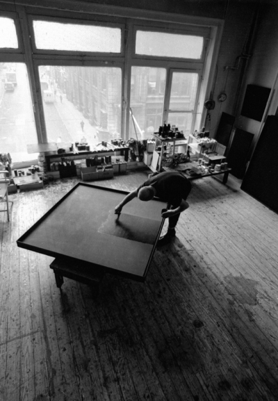 artist AD REINHARDT at work studio new york