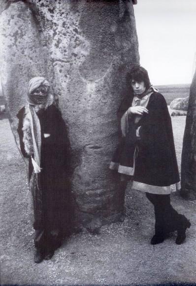 Mick Jagger and Marianne Faithfull at Stonehenge, April 1968.