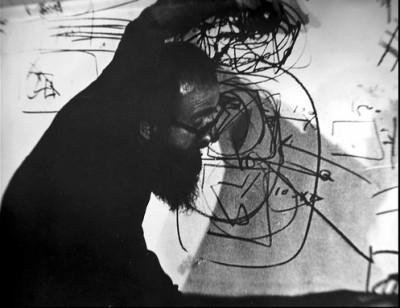 italian artist Emilio Vedova working in his studio ibiza