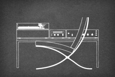 Dieter Rams design industrial chair blue print