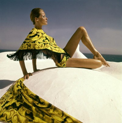 Veruschka on a traditional greek house rooftop mediterranean island