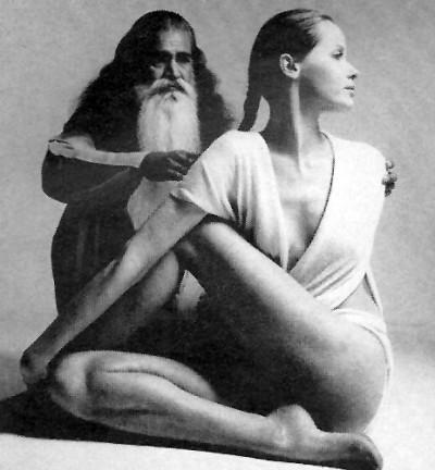 Veruschka posing next to a yoggi