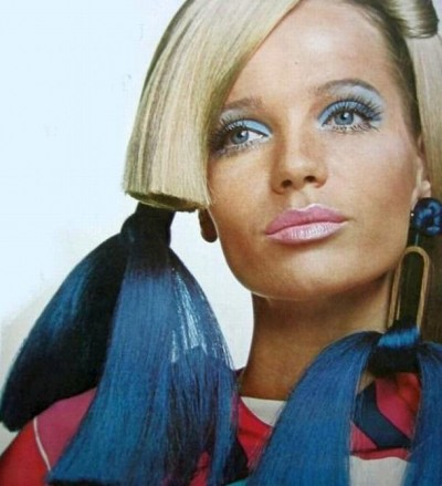 Veruschka blue dyed hair extensions