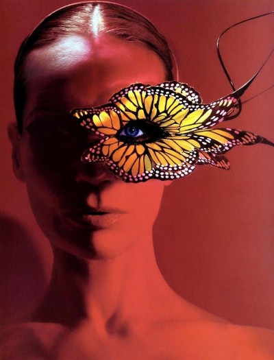 Veruschka butterfly eye make up and accessorie