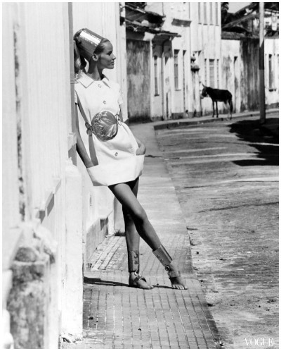 Veruschka in brasil village street with donkey